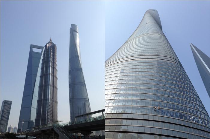 Från vänster till höger. Shanghai World Financial Center-Jin Mao Tower och stoltheten Shanghai Tower. Ser ni fönsterputsarna?