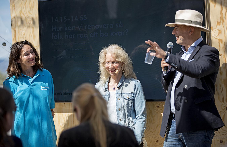 Seminarium om hållbara renoveringar i Almedalen 2017. Foto: Erik Mårtensson