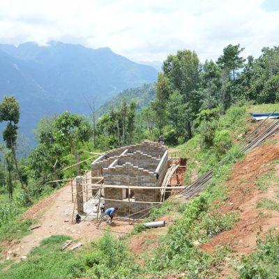 Bild på hus under uppbyggnad