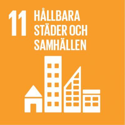 Ikon för FN:s globala mål nr 11.
