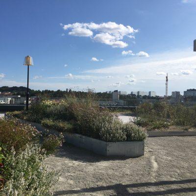 Takterrass på NCC:s huvudkontor i Solna.