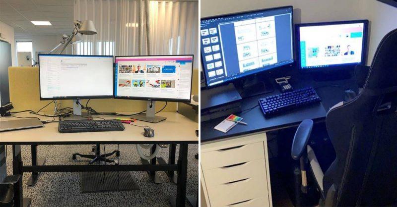 Dator med skärm, på NCC.s kontor samt hemmakontor.